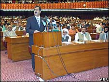 Pakistani Prime Minister Yusuf Raza Gillani addresses the parliament session in Islamabad on March 29, 2008.