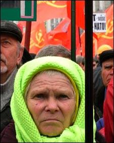 Anti-Nato protester in the centre of Kiev