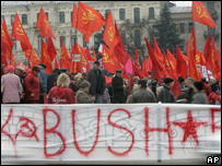Protestas contra Bush en Kiev