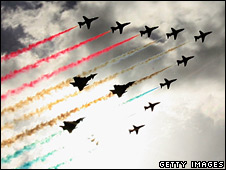 Red Arrows 90th anniversary formation