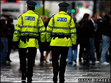 Police patrolling Buchanan Street in Glasgow