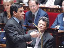 French PM Francois Fillon at the National Assembly on 25 March 2008