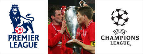 Jamie Carragher and Steven Gerrard celebrate winning their Champions League in 2005