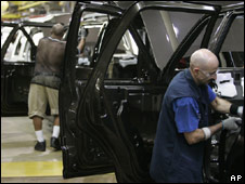 Worker at a Ford plant in Michigan