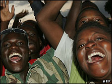 Zimbabweans celebrating in Harare on Sunday