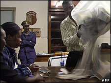 Election workers in Zimbabwe