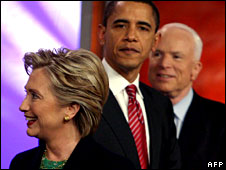 Hillary Clinton, Barack Obama and John McCain in New Hampshire, 5 Jan 2008