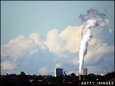 File image of a smoke stack emitting fumes