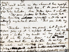 "A page from the original manuscript of ""The Pickwick Papers,"" Charles Dickens' first novel"