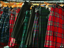Kilts on sale in the Royal Mile