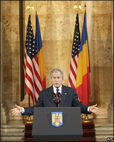 George Bush in Bucharest, Romania on 2 April 2008