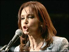 Argentina's President Cristina Fernandez delivers a speech at the Plaza de Mayo in Buenos Aires