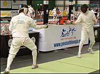 Nick Woodbridge in fencing action