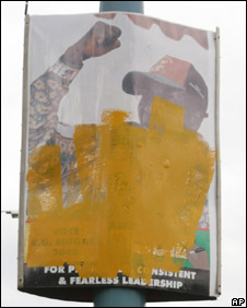 Disfigured posters of Robert Mugabe, 2 April 2008