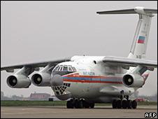 Russian relief plane arriving at Belgrade airport
