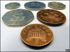 The current designs of six coins from 1p to 50p