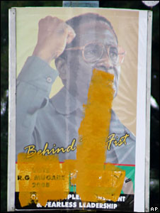 Defaced Robert Mugabe poster