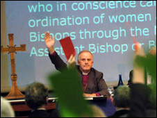 The archbishop supported the move to create women bishops