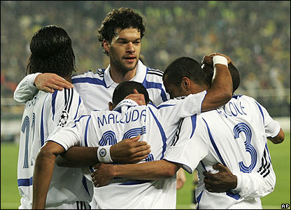 Chelsea players celebrate taking the lead in Turkey