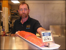 Wild salmon at a fishmonger's