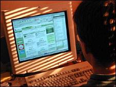 Boy using a computer