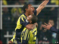Colin Kazim-Richards celebrates scoring Fenerbahce's equaliser