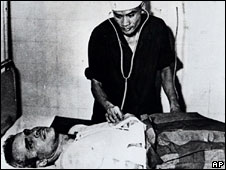 John McCain is treated in hospital while a prisoner of war in Vietnam, in 1967