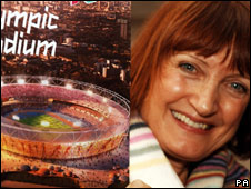 Tessa Jowell and an artist's impression of the 2012 Olympic stadium