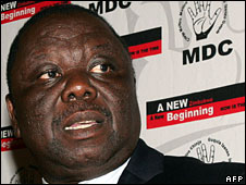 MDC leader Morgan Tsvangirai, 1 April, 2008