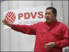 Venezuela's President Hugo Chavez speaks at an oil facility