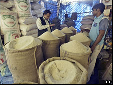 Rice being sold in India shop