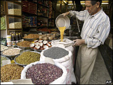 Pulses sold in a India shop