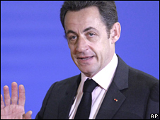 Nicolas Sarkozy at Nato summit on 3 April 2008