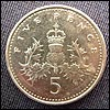 Old five pence piece