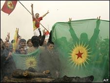 Turkish Kurds waving PKK flags