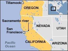 Map of west coast of US