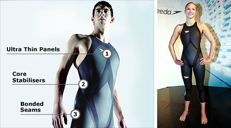Michael Phelps and Caitlin McClatchey model the new Speedo LZR Racer swimsuit