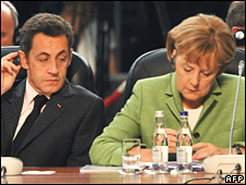Nicolas Sarkozy and Angela Merkel at the Nato summit on 3 April 2008