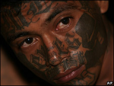 An alleged Mara Salvatrucha gang member in El Salvador