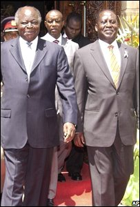 Kibaki (l) and Odinga (r)