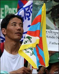 Tibetan protester in Siliguri