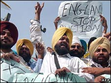 a protest against the proposed auction by Sothebys in the United Kingdom of armour and painting said to belong to the 10th Sikh Guru Gobind Singh