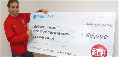 Arsenal midfielder Mathieu Flamini covered over eight miles to win the Barclays Sport Relief Mile Challenge