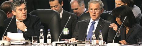 Gordon Brown, George W Bush and Condoleezza Rice on 3 April 2008