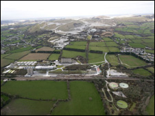 Aerial image of Blackpool Dryer site with Blackpool Pit in the distance
