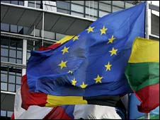 EU flag surrounded by national flags