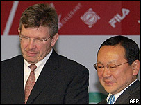 Ross Brawn (izq.) y Yasuhiro Wada (director de Honda Motor Sports)
