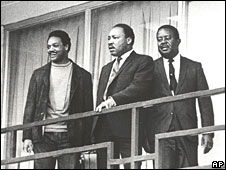 Martin Luther King (c) and Jesse Jackson (l) on the balcony of the Lorraine Motel, 3 April 1968