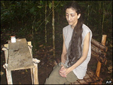 A photo of Ingrid Betancourt, from a video seized from captured Farc rebels