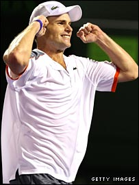 Andy Roddick celebrates his win in Miami.